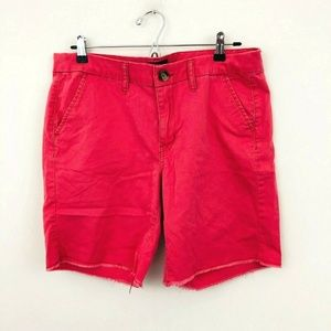 American Eagle Pink Raw Hem Boyfriend Shorts